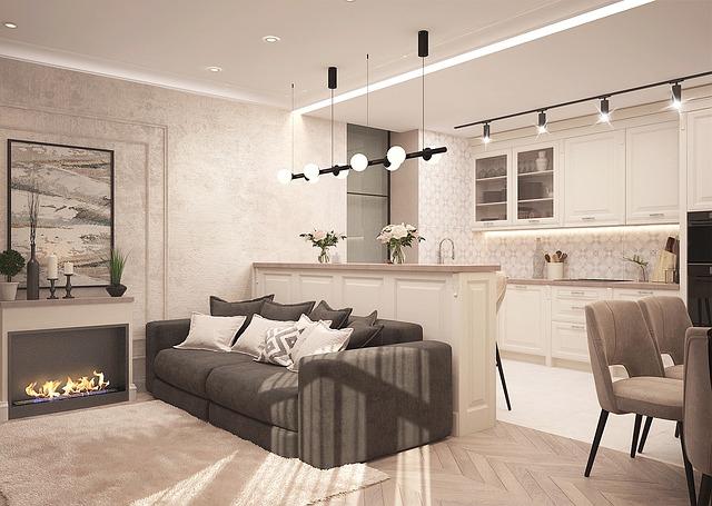 bílá kuchyň s obývákem